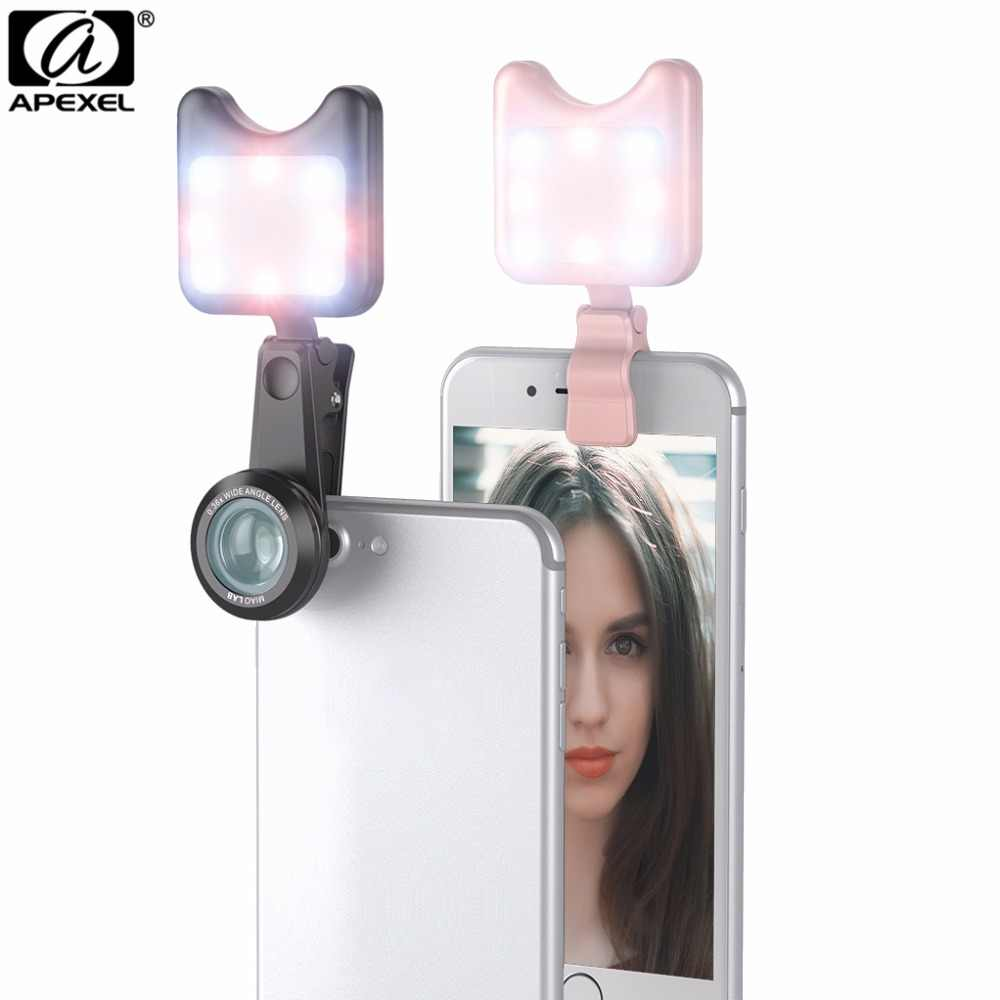 APEXEL Phone Camera Lens with Led Flash Fill Light Adjustable Brightness,Wide Angle Lens,15X Macro Lens for iPhone Samsung Phone