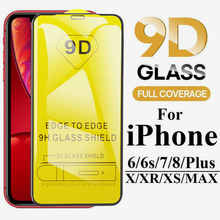 100 PCS 9D Curved Full Cover Tempered Glass on the For iPhone X XR XS Max 8 7 6 6s Plus Screen Protector Protection Film