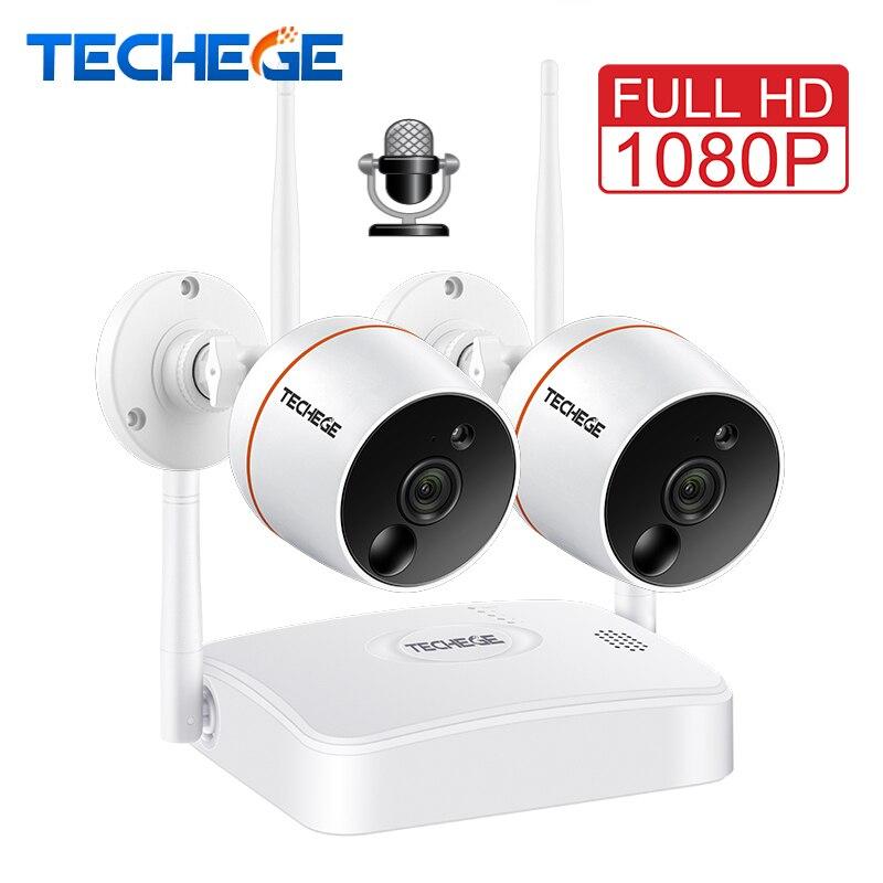 Techege 1080 p Système DE Caméra DE VIDÉOSURVEILLANCE WiFi NVR Kit Vidéosurveillance Étanche Caméra IP Sans Fil PIR Fonction enregistrement SUR Carte SD