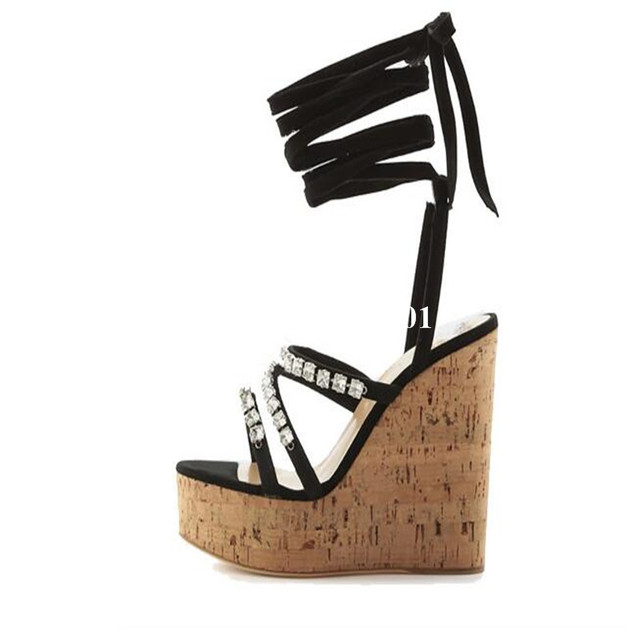 47ef516711e9 Sexy Lady Sandals High Platform Wood Grain Lace Up Peep Toe Wedge Heel  Crystal Ankle Strap Black Fashion Party Dress Shoes Women