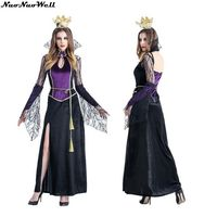Fashion Purple Queen Long Dress with Crow Costume Adult Elf Princess Dress Fairy Tale Cosplay Witch Costume Sexy Girls Dress