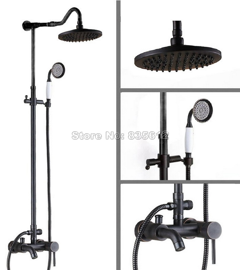 Black Oil Rubbed Bronze Bathroom Rain Shower Faucet Set with Handheld Shower + Wall Mounted Single Handle Tub Mixer Taps Wrs604