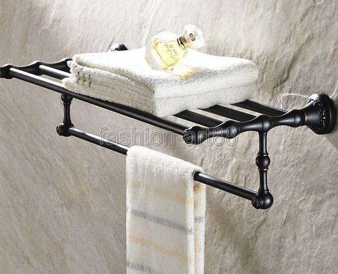 ФОТО Bathroom Accessory Black Oil Rubbed Brass Wall Mounted Bathroom Towel Rail Holder Storage Rack Shelf Bar  aba445