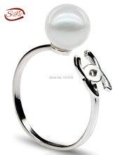 SNH 100% 7.5-8mm Perla natural de agua dulce anillos botón Forma real Perlas de Agua Dulce s925 anillo de Plata del Envío Gratis