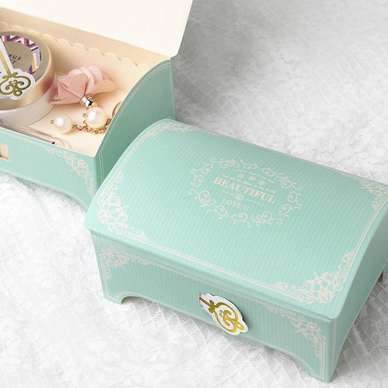 10pcs/lot Korean Treasure Box Paper Jewelry Box For Women Favors Gift Packaging Bag Candy Boxes For Wedding Birthday Party