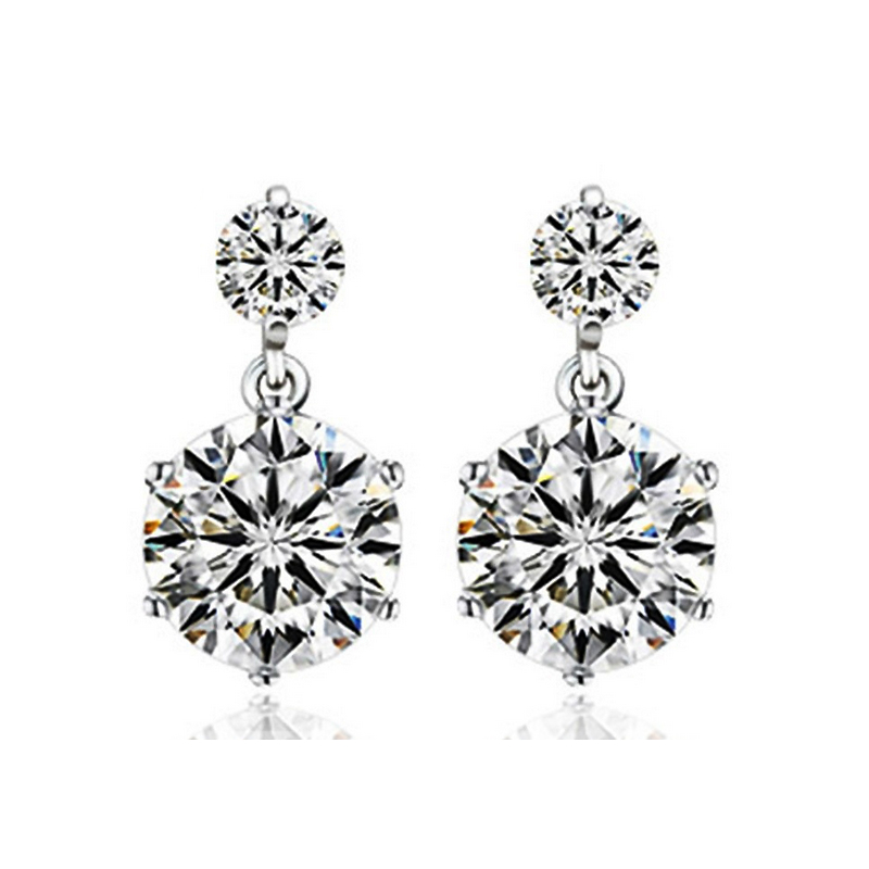 JEXXI Classic Wedding Engagement Woman Earrings 925 Sterling Silver AA Clear CZ Cubic Zirconia Fashion Jewelry