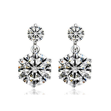 JEXXI Classic Wedding Engagement Woman Earrings 925 Sterling Silver AA+++ Clear CZ Cubic Zirconia Fashion Jewelry
