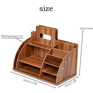Image 2 - Wood Desk Organizer Office Bureau Pen Holder Wooden Sorter with Drawer Organizer Pen Pencil Organizer