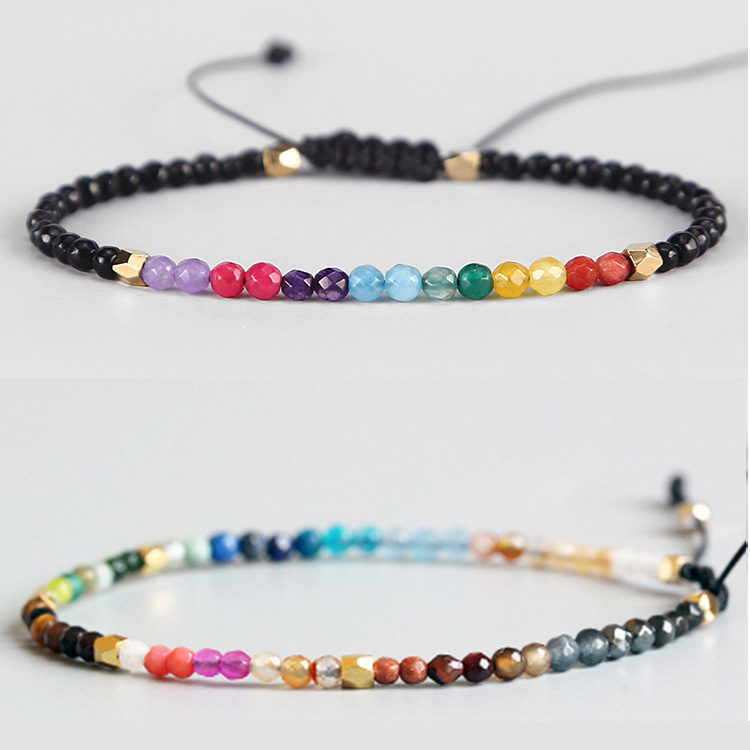 Adjustable Lucky Natural Stone 7 Chakras Bracelet Yoga Pulsaera 7 Chakras Meditation Pulseira For Women Reiki Prayer 3mm Beads little bit of chakras