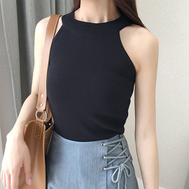 Sexy Solid Halter Cropped Crop Tops Women Cotton Clothes Summer Off Shoulder Tank Top Womens Knitted Sleeveless Vetement Femme