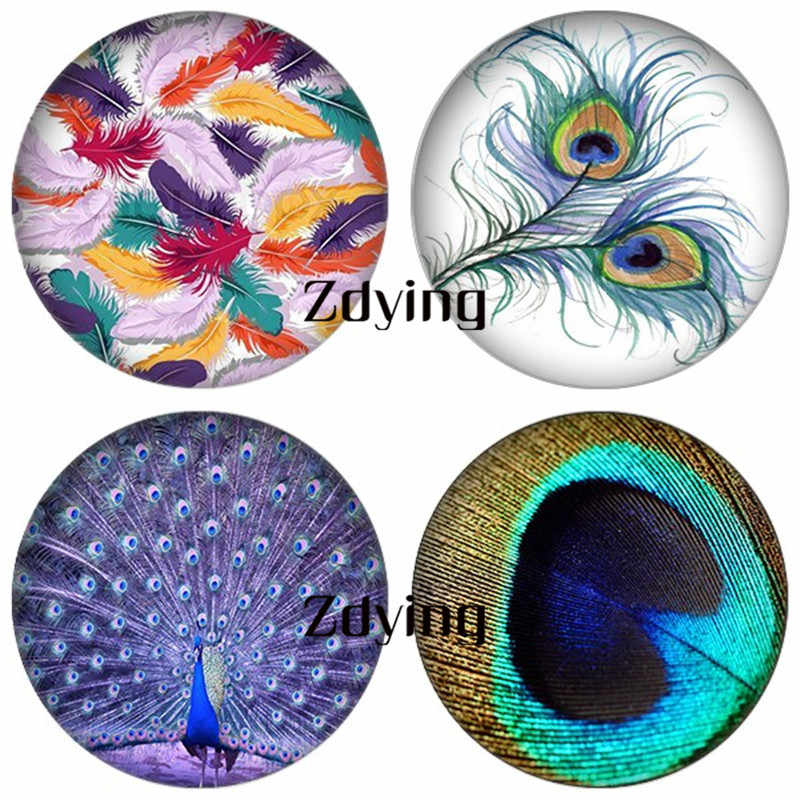 ZDYING 5 יח'\חבילה עגול זכוכית קרושון צבעוני טווס ציפורים נוצת תמונות זכוכית כיפת Fit קמיע בסיס הגדרת הדפסה