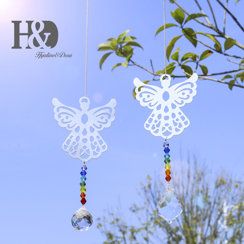 H&D Set Of 2 Crystal Angel Suncatcher Hanging Crystal Prism Sun Catchers Pendant Healing Ornament Decor Gift For Home Decoration