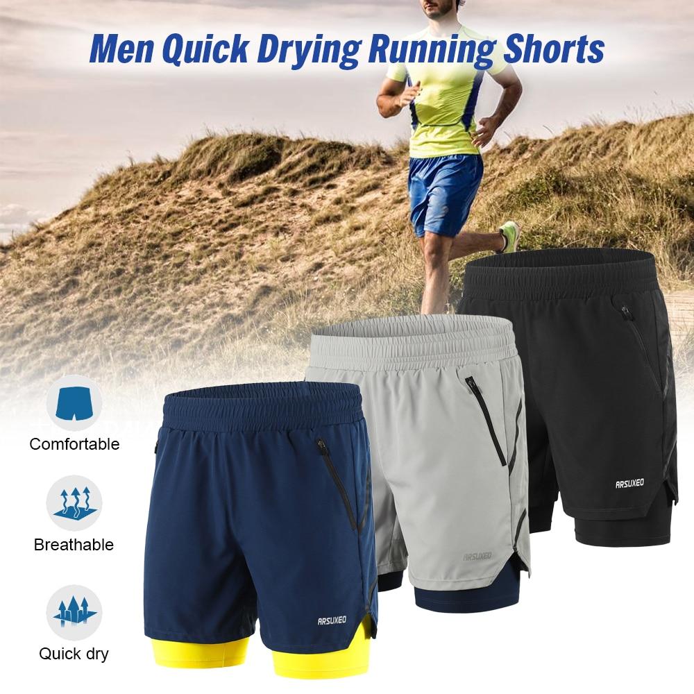 Schnell trocknende Shorts Active Training Running Shorts Herren 2 in 1 Short