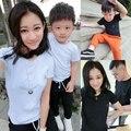 2016 новое поступление семья майка комплект с улыбкой лицом о-образным вырезом дети полотна детская черный и белый футболки семьи соответствующие наряды
