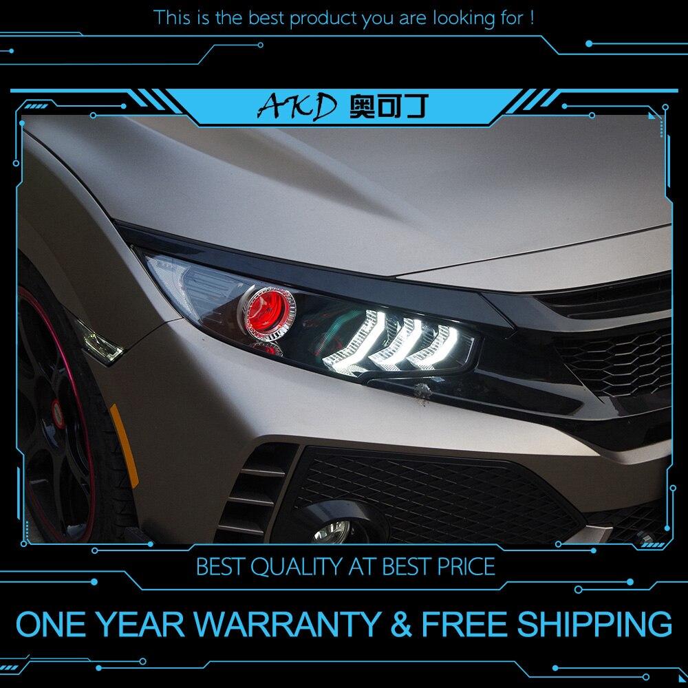 AKD tuning cars phare pour Honda CIVIC X G10 Mustang phares LED DRL feux de route bi-xénon faisceau antibrouillard yeux d'ange