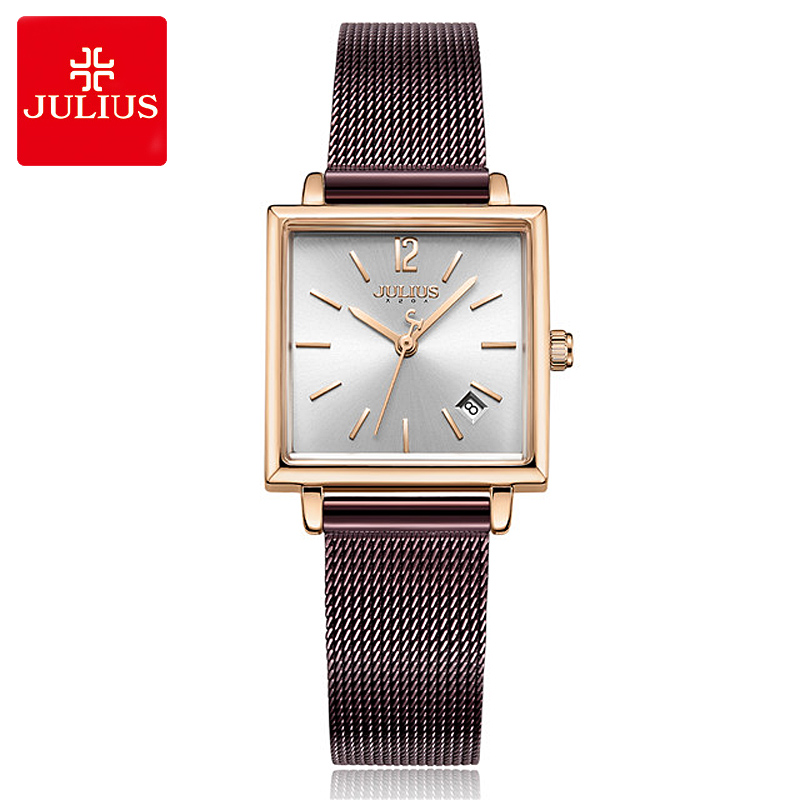 New Julius Lady Women's Watch Date Japan Mov't Fashion Hours Stainless Steel Bracelet Business Clock Girl's Birthday Gift Box