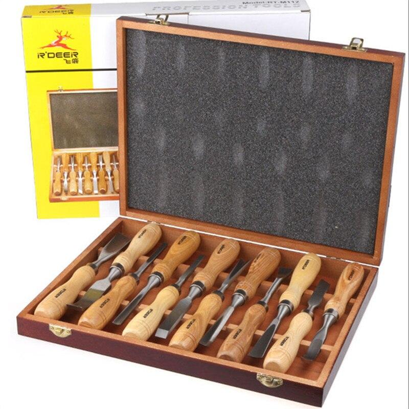 цена на Freeship RDEER 12 pcs Wood Carving Set Wood Working Tools Chisel Kit Carvers Graving Knife In Box chisel ferramentas marcenaria
