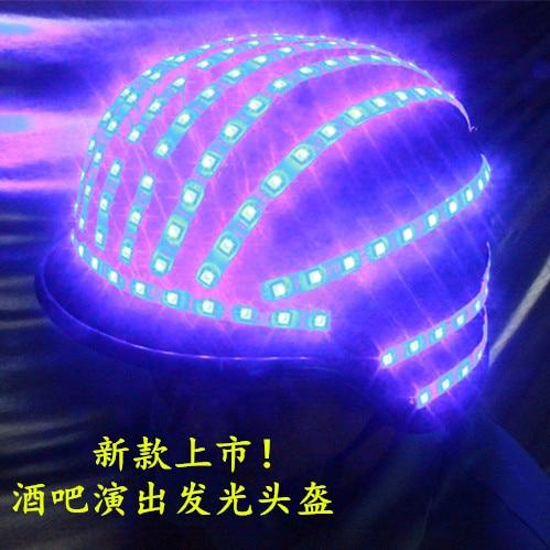 Bezpłatna wysyłka Oświetlenie LED Miga Kask Sceniczne występy taneczne LED Kostiumy świetlne