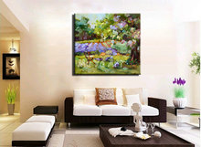 Abstract modern canvas wall art handpainted purple  picture Knife oil painting on canvas for living room wall home decoration
