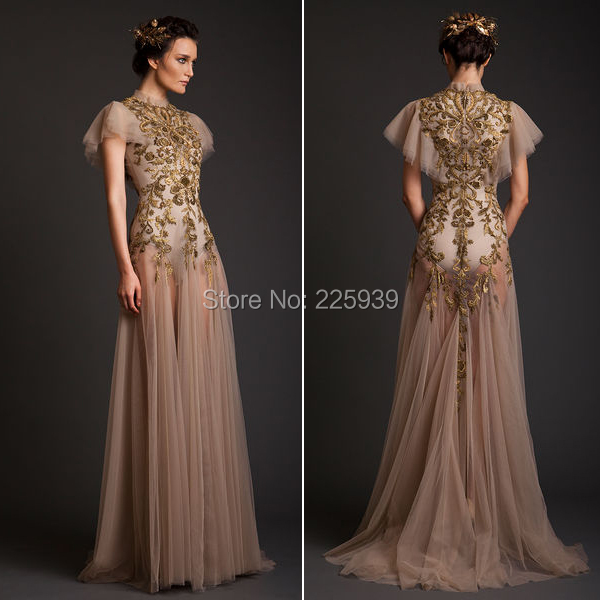 Aliexpress.com : Buy Krikor Jabotian High Neck Golden Lace Short ...