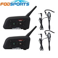 2 pcs V6 Pro 850mAh 6 Riders 1200m Bluetooth Intercom Headset with Earhook Earphone Suit for Football Referee Judge Biker