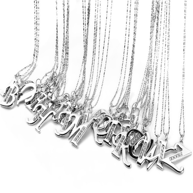 Fashion letter pendant necklace initial necklace silver chain fashion letter pendant necklace initial necklace silver chain alphabet collar necklace men stainless steel jewelry wholesale mozeypictures