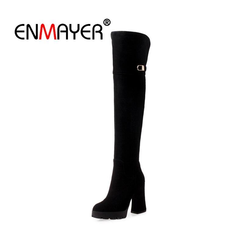 Cuissardes Pointu Zip Bout Daim Hiver Causalité Black Noires Bottes Boucle Stretch Sur Enmayer Chaussures Cr1431 Femme Le Hautes Anw7v8zq