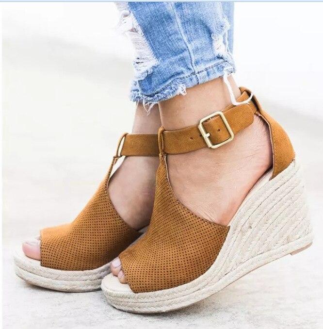 Mature Summer Platform Sandal 2018  Solid Wedges  Open Toe Women Sandals Cover Heel  Designer Shoes