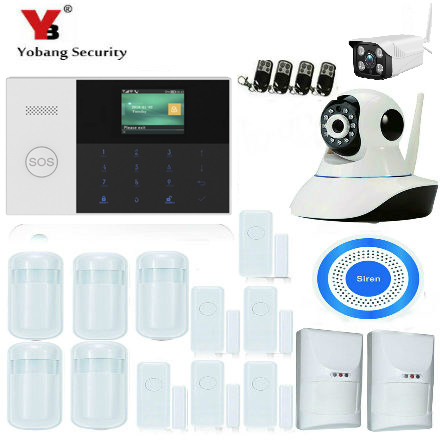 купить YobangSecurity SOS Button 2.4 Inch WIFI RFID GSM SMS Home Burglar Security System Smoke Fire Sensor Video IP Camera APP Control по цене 4593.91 рублей