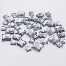 150pcs Square Glass beads Hotfix Rhinestones 3 Sizes Mix Stones And Crystals Strass Glue-back Iron on For Clothes