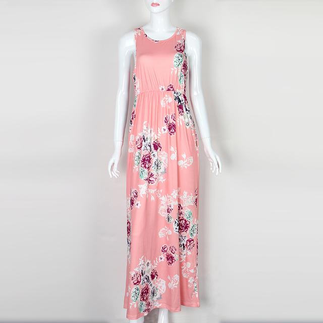 Boho Floral Printed Sundress O-neck Summer Sexy Pleated Maxi Dress 2017 Casual Beachwear Femininos Vestidos Plus Size LX328