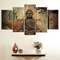 HD Print Painting Canvas 5 Panel Buddha Modern Home Wall Decor Painting Canvas Art Wall Picture