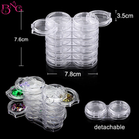 1Set 6 Layers Nail Art Accessories Pot Bottle Tips Gems Rhinestone Removable Storage Clear Case Nail