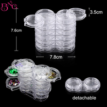 BNG 6 Layers Pot Bottle Nail Tips Gems Rhinestone Removable Storage Clear Case Nail Art Accessories Decoration Holder Tool