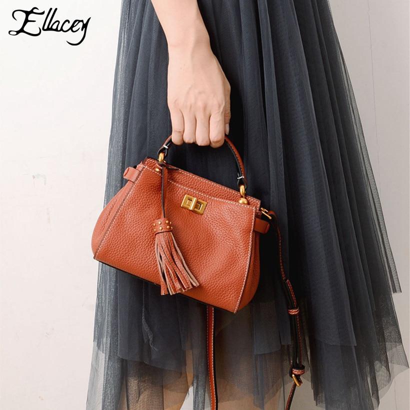 New 2018 Genuine Leather Peekaboo Mini Bag Women Luxury Brand Handbag Cow Leather Crossbody Bags Designer Tassel Messenger Bags