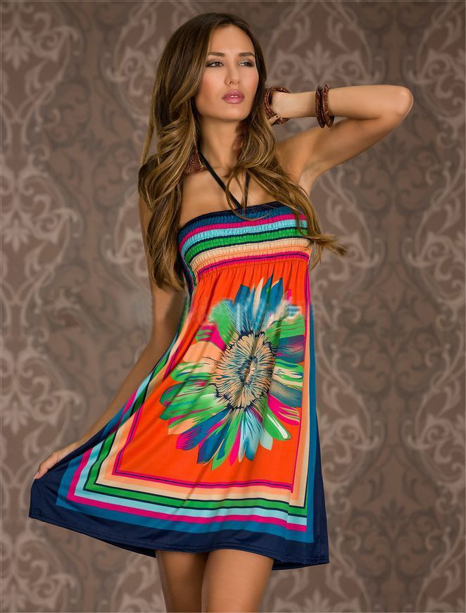 2017 spring and Summer new sexy for women casual vestidos vintage beach dresses looks thin holiday printed strapless loose 8