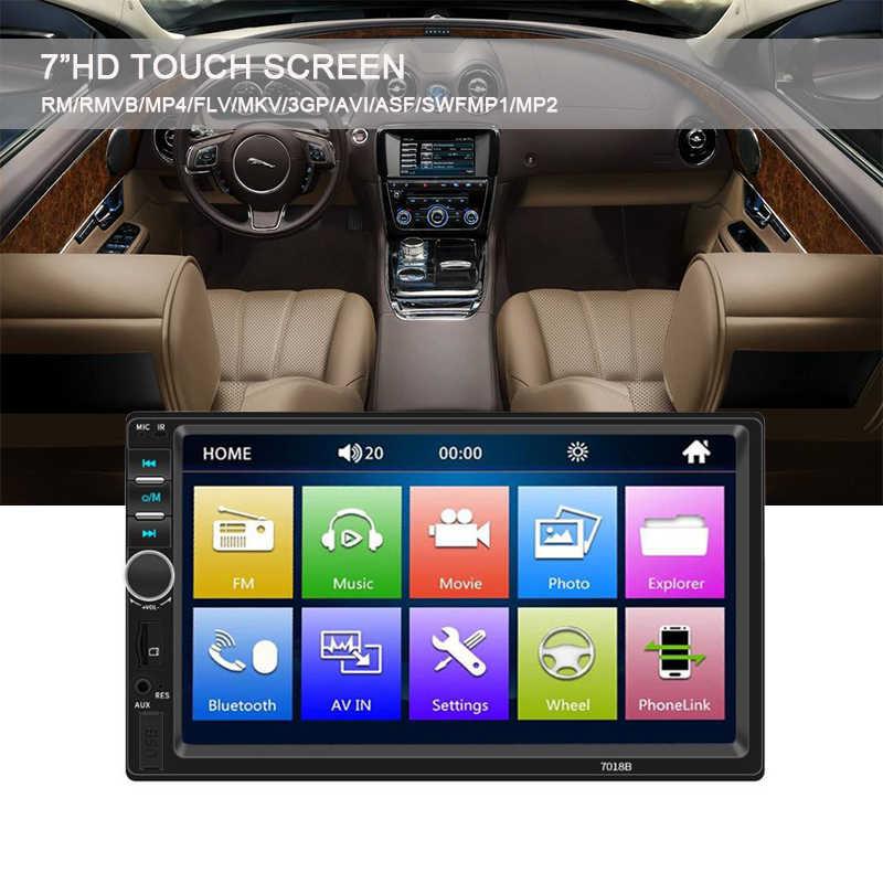 "7 ""inç 2 Din ayna bağlantı otomatik radyo destek Bluetooth Stereo FM TF USB evrensel araba radyo MP5 MP4 oynatıcı HD dokunmatik ekran"