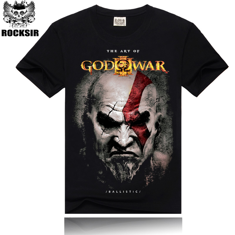 Rocksir 2017 Men's 100% cotton   T  -  shirts   good quality GOD OF WAR tshirt Summer   t     shirt   Men Solid Black Men brand clothing Tees