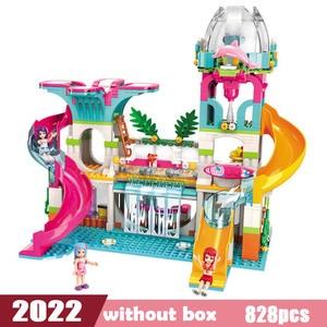 Image 2 - Dziewczyny nad morzem plaża zjeżdżalnia Park rozrywki dom Party Dolphin Rescue zestawy klocków budowlanych cegły przyjaciele zabawka dla dzieci