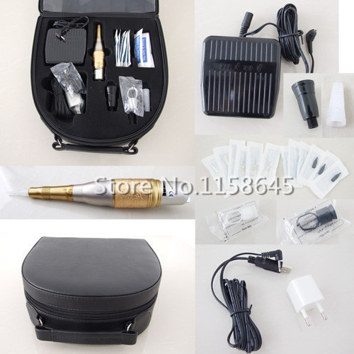 Wholesale Top Digital Tattoo Permanent Makeup Kit Durable Hanpiece Pen For Eyebrow Lips + Needles Tips Case Cosmetic Supply #j professional permanent makeup tattoo eyebrow pen machine 50 needles tips power supply set us plug drop shipping wholesale