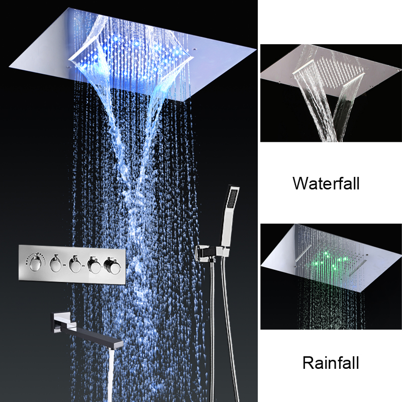 360x500mm Concealed Ceiling Luxury Rain Shower Faucets Thermostatic Mixer Set Waterfall Water Power LED Shower Kit Bathtub Spout
