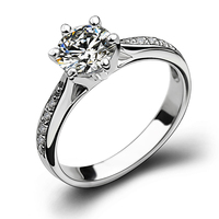 Promotion Brand Jewelry Claw set Engagement 1ct Dia mond 925 Sterling silver Women Wedding Band Ring