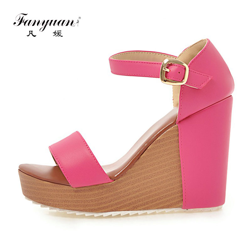 Fanyuan Summer Sandals Women Cover Heel High Pumps Elegant Ankle Strappy Heels Female's Platform Shoes Party Wedding Sandals