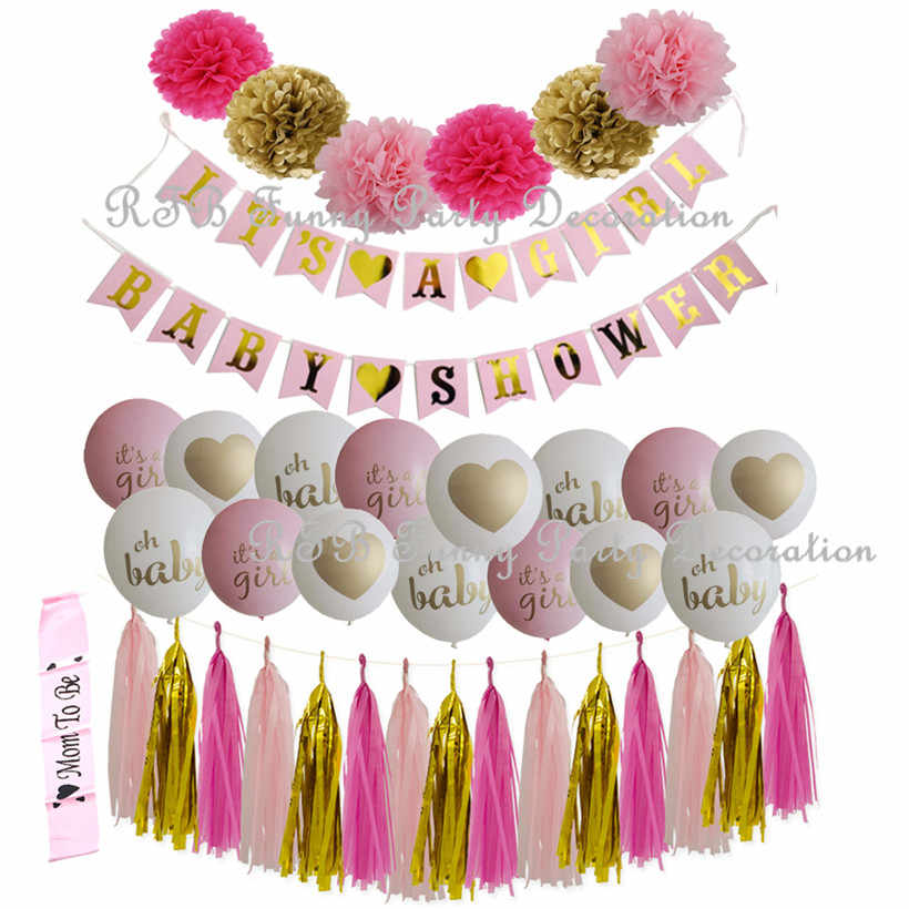 Baby Shower Decorations Pink BlueGold Party Banner Balloons Mom To Be Sash Paper PomPoms Tassel Garland