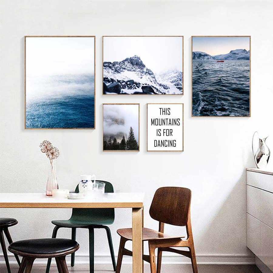 Скандинавский Пейзаж Плакат и печать огромный морской горы холст с морским пейзажем живопись на стене гостиной домашний декор Модульная картина