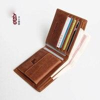 Handmade men's short wallet retro crazy leather leather men's wallet casual small wallet
