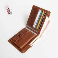 Handmade men's short wallet retro crazy leather leather men's wallet casual small wallet