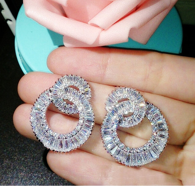 Luxury Jewellery Rose gold plated AAA+ cubic zircon CZ  twist circle design exaggerated bridal jewelry earrings Korean style