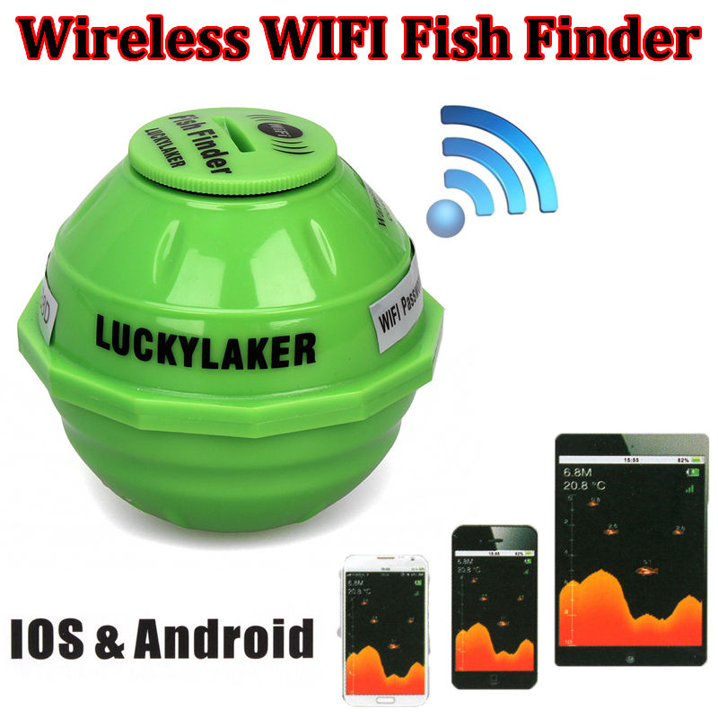 Lucky Sounder Sonar Wireless WIFI Fish Finder 50M/130ft Sea Fish Detect Finder For IOS Android Wi-Fi Fishfinder+Car Charge