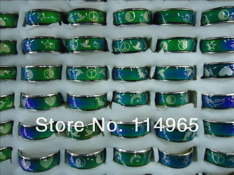 200 sztuk dużo zmienić kolor posrebrzane nastrój pierścionki hurtownie luzem moda biżuteria w Pierścionki od Biżuteria i akcesoria na  Grupa 2